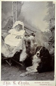 Vintage photo, Victorian Baby and Dog