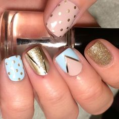 """""""I will admit I am OBSESSED with this mani!! So I used China Glaze I'm Not Lion, Essie Mint Candy Apple (the super blue version-I prefer the actual mint…"""""""