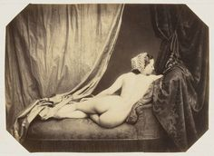 "Nude  Auguste Belloc (French, 1800–1867)    1856-60. Albumen silver print, 5 13/16 x 7 15/16"" (14.8 x 20.1 cm). Suzanne Winsberg Collection. Gift of Suzanne Winsberg"