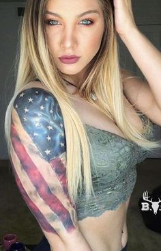 Patriotische Tattoos, Cute Tattoos, Body Art Tattoos, Thigh Tattoos, Beautiful Tattoos, Print Tattoos, Country Girl Look, Country Girl Tattoos, Country Tattoo