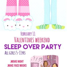 Sleep over party 💁🏼 — Hey mom !  do you have plans for valentines weekend?  No worries we've got you covered.  Sleep over party feb 11-12   Ages 5-11  All inclusive  $50 per child  $80 for siblings  For details click link and RSVP only 10 spots  available!  347-719-3390