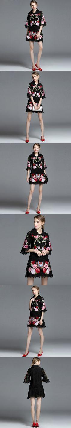 2017 Autumn Runway Designer Vintage Suit Set Women's Clothes amazing Elegant 2 Piece Coat and Floral Embroidery Skirt Suit Set