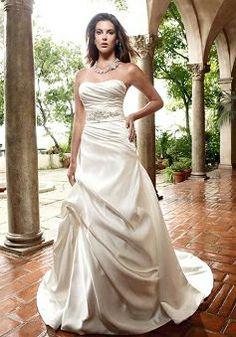 Scoop Elastic Satin A line Sleeveless Floor Length Timeless Wedding Dress - Lunadress.co.uk