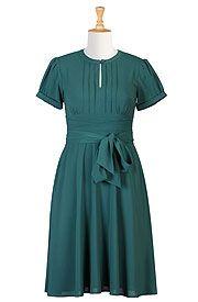 Pintuck front sash tie crepe dress