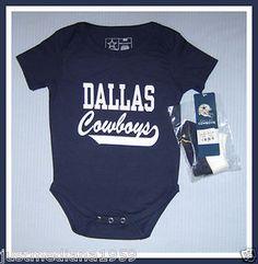NWT NFL Dallas Cowboys Onesie Creeper   Booties - Navy White - SZ 6-9 Mo 6b67390b6