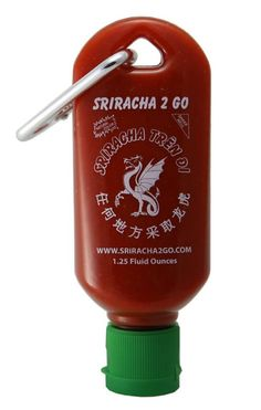 laughingsquid:  Sriracha2Go, A Tiny Refillable Bottle of Siracha That Clips to a Keychain