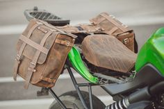 Motorcycle Saddle Bag and a Leather Dressed Seat Set,Motorcycle Leather…