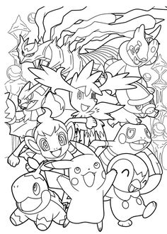 Coloring page for fans of Pokemon Go, with creatures to catch ! Or color…