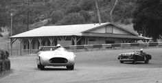 Paramount Ranch on March 10, 1957.     Here'a front-on view of the beast.  Porter has just devoured a badly overmatched and thoroughly intimidated Triumph TR-2.  The highly banked...