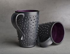 THESE MUGS! <3 Spiky Mugs Made To Order Pair of Black and by symmetricalpottery