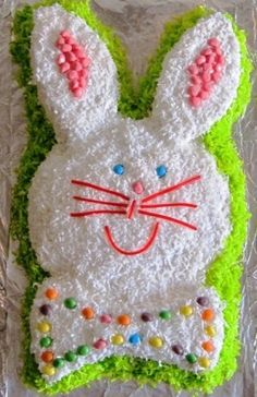 Easter Bunny Cake with directions for cutting and decorating