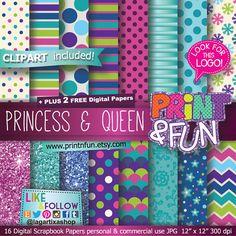 Fondos Digitales, Papel Digital, Princesa, Reina, clip art, glitter, encaje, morado, lila, aqua, teal, turquesa, invitaciones,