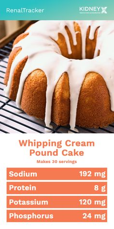 A traditional pound cake top with a very firm whip cream making it more aesthetically appealing. Learn how to create this delicious low-phosphorus recipe by clicking the image now. No Sodium Foods, Low Sodium Recipes, Diet Recipes, Davita Recipes, Diet Desserts, Dessert Recipes, Jello Desserts, Low Phosphorus Foods, Whipping Cream Pound Cake
