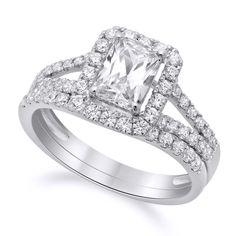 1.65 CT Emerald Cut Engagement Bridal Ring band set Solid 14k White Gold  #Affinityhomeshopping #Bridal