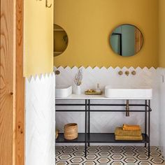 Small bathroom ideas and small bathroom designs for both city and country homes. From small bathroom designs using tile and wallpaper, to help decide on a small bathroom layout. Small Bathroom Layout, White Bathroom Tiles, Yellow Bathrooms, White Tiles, Yellow Tile, Yellow Walls, Guest Bathrooms, Upstairs Bathrooms, Bathroom Inspiration