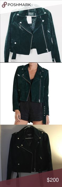 Obey Moto Jacket Emerald green suede moto jacket by Obey Propaganda. Jacket is in absolute perfect condition as it was only worn once. Size medium, would fit a 4-6 comfortably. It is 100% authentic leather suede and 100% polyester lining. Measurements are 16.5 in across the shoulders, 18 in across the bust, 16 in across the bottom waist and 22.5 in down the arms. Amazing quality jacket. Discontinued on Obey. Lighting is bad in my pictures but the color is very close to the stock photos…