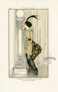 Etienne Drian (French 1885-1961) - Journal des Dames et des Modes Costumes Parisiens N°62 1913. (The drama...typical pose of the time)
