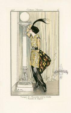 Tunique de Mousseline vieil or brodee by Etienne Drian, Journal des Dames et des Modes 1912. Georges Barbier | panteek.com.
