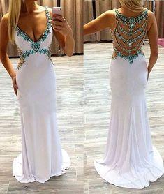 prom dresses,white a-line v neck rhinestone long prom dress, formal dress