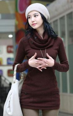Trendy Long Sleeve Women's Sweater With Scarf. I like that the sweater is long enough to cover the hips.