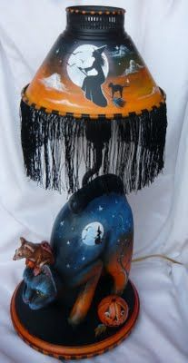 MAGIC BRUSH STUDIO: OOAK BLACK CAT MOUSE WITCH HALLOWEEN LAMP~on e-Bay this week!