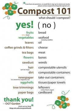 "Printable for what to compost  what not to compost - I was surprised about a couple of items in the ""no"" list:paper towels and cardboard.  Now I know!"