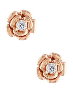 Diamond Rose Post Earrings - 0.20ctw by Blushing Bride: Rose Gold Jewelry on @HauteLook