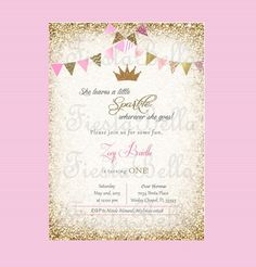Pink and Gold Birthday Invitation Unique Princess Crown Birthday Invitation Pink Gold Glittter Princess Birthday Invitations, 1st Birthday Princess, Baby 1st Birthday, Gold Birthday, 4th Birthday Parties, Birthday Bash, Princess Party, Vegas Birthday, Birthday Ideas