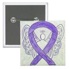 Violet Angel Awareness Ribbon Art Pins