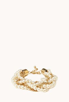 Faux Pearl & Chain Bracelet | FOREVER21 - 1000071552