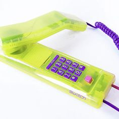 SWATCH Phone Vintage 80s Retro Transparent Neon Green Yellow Lucite Plastic Clear Purple Pink 1989