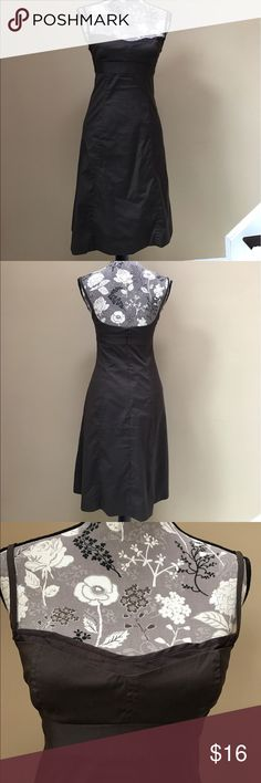 """J. Crew spaghetti strap dress J. Crew brown spaghetti strap dress size 0.  Excellent condition. 15 1/2 from underarm to underarm 28"""" long.  Fully Lined, 78% cotton, 17% nylon and 5% spandex. Lining peaks at the neckline as an extra detail. Very cute! J. Crew Dresses"""