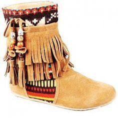 minnetonka aztec moccasins | Flat Fringe Moccasin Boots for Women - Short Fringe Moccasin Boots for ...
