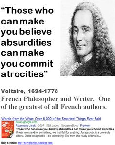 How does Voltaire portray organized religions?