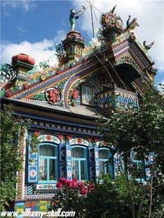 Architecture ( Colorful House-A psychedelic house of Russian blacksmith in a Russian village near Yekaterinburg city (Kunar village, Ural, Russia). Russian Architecture, Amazing Architecture, Architecture Details, Sustainable Architecture, Creative Architecture, Victorian Architecture, Classical Architecture, House Architecture, Beautiful Buildings