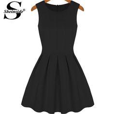 Sheinside moda casual vestidos de las mujeres negro sin mangas de cuello redondo plisado una línea de la rodilla-longitud de la vendimia breve lindo vestido flare