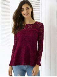 Elegant Applique Solid Color Women's Top (WINE RED,M) | Sammydress.com Mobile