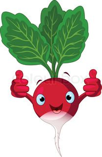 Stock vector of 'Illustration of a radish Character giving thumbs up'