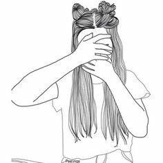 Noir et blanc Tumblr Outline Drawings, Tumblr Girl Drawing, Tumblr Sketches, Art Tumblr, Girl Drawing Sketches, Girl Sketch, Tumblr Girls, Cool Drawings, Girl Tumbler