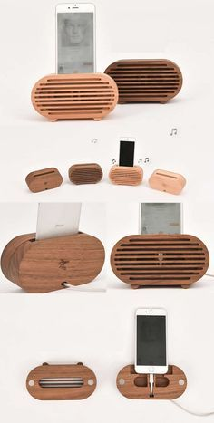 Wooden Radio Style Speaker Sound Amplifier iPhone SmartPhone Charging Station Stand Dock Mount Holder Charge Cord Cable Organizer With Pen Holder for iPhone 77 Plus6s6s Plus