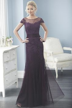 Jacquelin Bridals Canada - 20233 - Special Occasions - A lovely lace piece made in a trumpet silhouette with tulle godets, pleated tulle middle, and an illusion tank neckline.