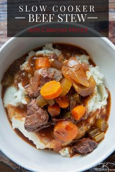 What's for dinner? Try this Slow Cooker Beef Stew recipe. Simmered in beef broth and red wine for hours, this fall dinner is perfect to add to your slow cooker recipes. It's hearty and comfort food at it's finest.