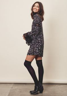 Kiyomi Dress - Tiny floral printed, lace-up mini dress with bell sleeves and crochet insets. #LOVESTITCH