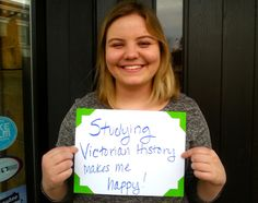 "To celebrate the International Day of Happiness, Hapacus went out into the streets to ask people what makes them happy. Our fifth participant: ""Studying Victorian history makes me happy!"