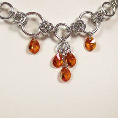 Swarovski Crystal Astral Pink Pear Drop Half Byzantine Chain Mail Necklace, Orange, Fuchsia Pink #Chainmaille Jewelry