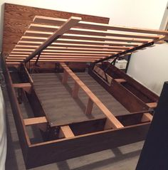 Bed Frame with under bed storage made to order.  Prices vary based on specifications. (Size, wood type, etc.)  Hand made in Seattle, WA!  King size