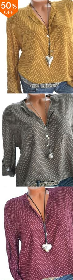 07e1dee460bbbc Women Polka Dot Print V-neck Loose Long Sleeve Blouses.  women  blouse