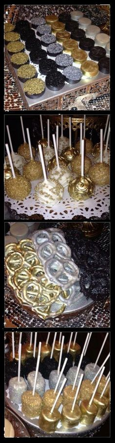Food with color scheme: white, gold, and black. These look so good and tasty, the metallic colors make the food look fancy even though it is just regular food.