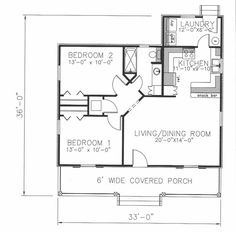 First Floor Plan of Cottage   Country   House Plan 64555  864 sq. ', 2/1 (nix upper cabs over bar)