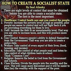 How to create a socialist state. -Saul Alinsky; mentor of B. Obama and H. Clinton (and subject of her college thesis)